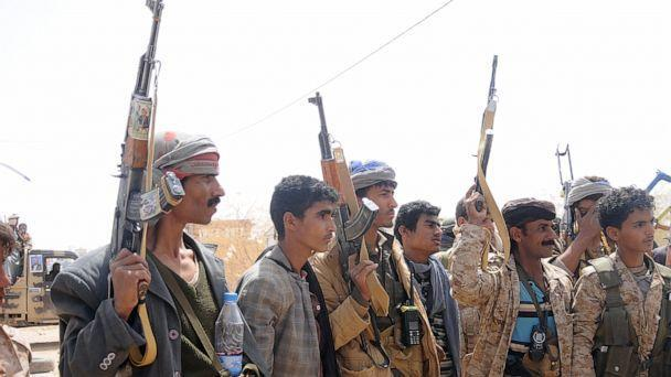 PHOTO: Houthi fighters gather at a recently captured area following heavy fighting with forces loyal to the internationally recognized government on March 2, 2020, in Al-Jawf province, Yemen. (Mohammed Hamoud/Getty Images, FILE)