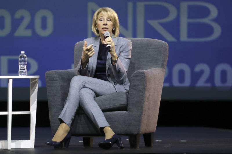 Education Secretary Betsy DeVos speaks at the National Religious Broadcasters Convention Wednesday, Feb. 26, 2020, in Nashville, Tenn. (AP Photo/Mark Humphrey)
