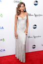 <p>A shimmery silver slip dress was the perfect choice for the 2016 Miss America competition.</p>