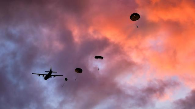 Image of Royal Marine Commandos parachuting from a C130 over Denmark at sunrise during Exercise Baltic Protector (Picture: UK MOD/Crown 2019)