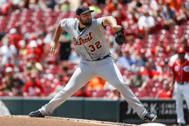 Detroit Tigers starting pitcher Michael Fulmer throws in the first inning of a baseball game against the Cincinnati Reds, Wednesday, June 20, 2018, in Cincinnati. (AP Photo/John Minchillo)