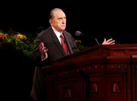 FILE PHOTO - Monson, president of the Church of Jesus Christ of Latter-day Saints speaks during the church's biannual general conference in Salt Lake City