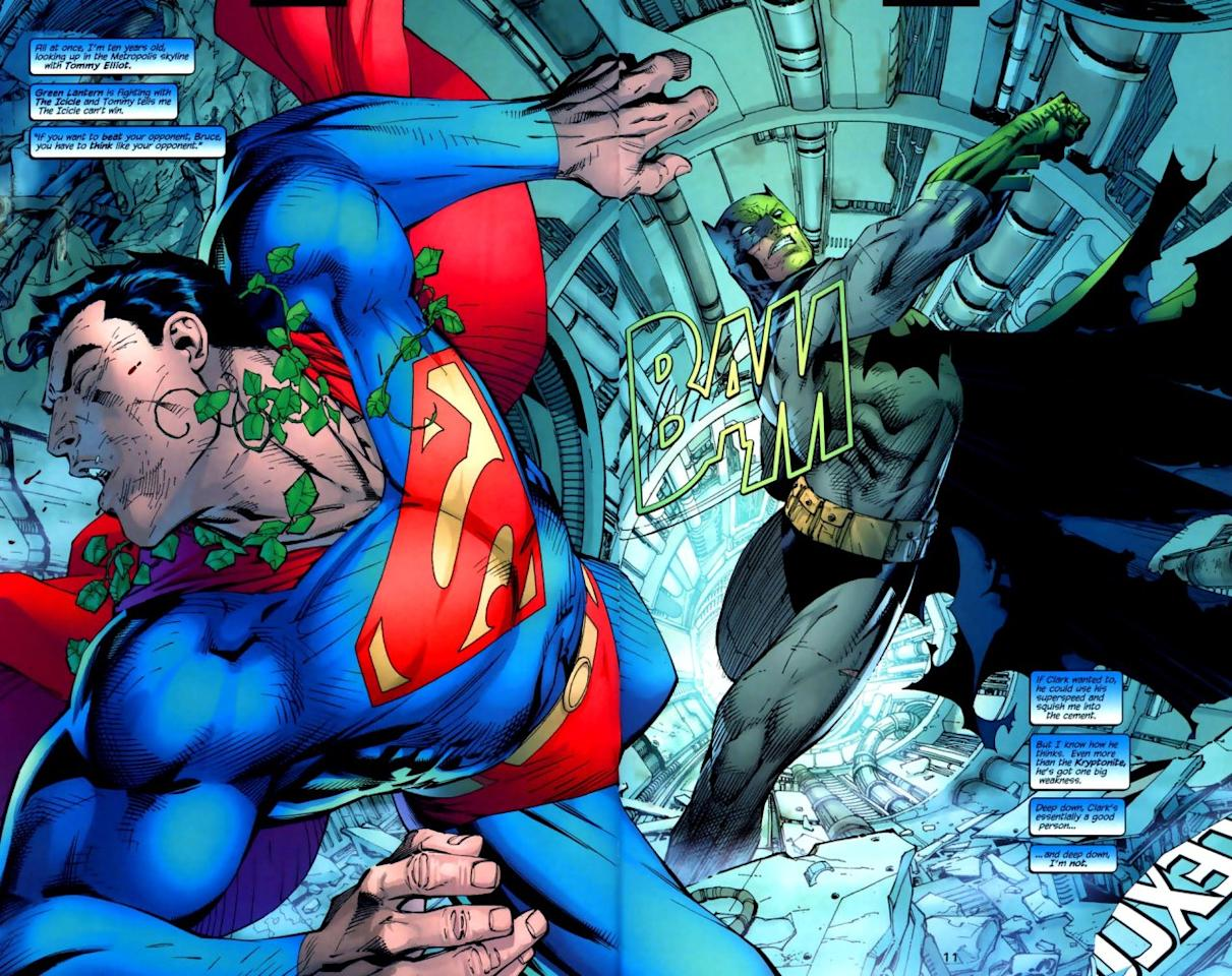 <p>Another of the recent-classic Batman books, this 2003 installment features Superman being mind-controlled (a trope used more than once to explain Superman-Batman comic battles) by Poison Ivy and forced into a confrontation with a reluctant Batman, who uses a kryptonite ring, sonic blaster, and Bat bombs to keep his pal at bay. It's only when Catwoman, working with Batman, throws Lois Lane off a building that Superman snaps out of it.</p>