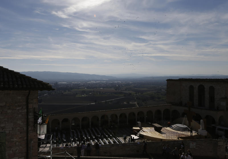 A view of the altar, bottom right, set up in front of St. Francis Basilica, in Assisi, Italy, Thursday, Oct. 3, 2013. The pontiff is scheduled to visit Assisi, the birthplace of the Italian saint who inspired his name on Friday. (AP Photo/Alessandra Tarantino)