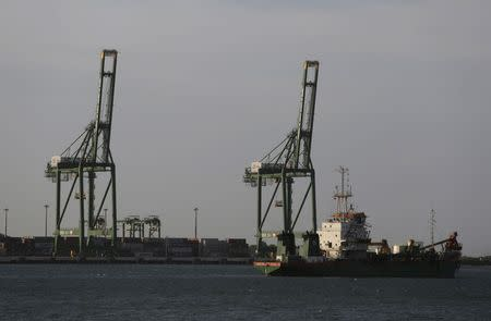 Cranes at Mariel port are seen on the outskirts of Havana