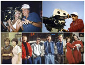 """This combination of photos released by ABC shows, director Garry Marshall with Julia Roberts on the set of the film """"Pretty Woman"""", clockwise from top left, Marshall behind the camera, Pam Dawber and Robin Williams in a scene from """"Mork & Mindy,"""" Donny MOst, Henry Winkler, Anson Williams and Ron Howard from """"Happy Days,"""" and Penny Marshall and Cindy Williams in """"Laverne & Shirley."""" Marshall and his legacy of crowd-pleasing TV shows and movies is saluted in an ABC special airing 8-10 p.m. EDT Tuesday. """"The Happy Days of Garry Marshall."""" (ABC via AP)"""