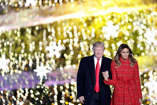 <p>U.S. President Donald Trump and First Lady Melania Trump attend the National Christmas Tree Lighting and Pageant of Peace ceremony on the Ellipse near the White House in Washington, Nov. 30, 2017. (Photo: Carlos Barria/Reuters) </p>