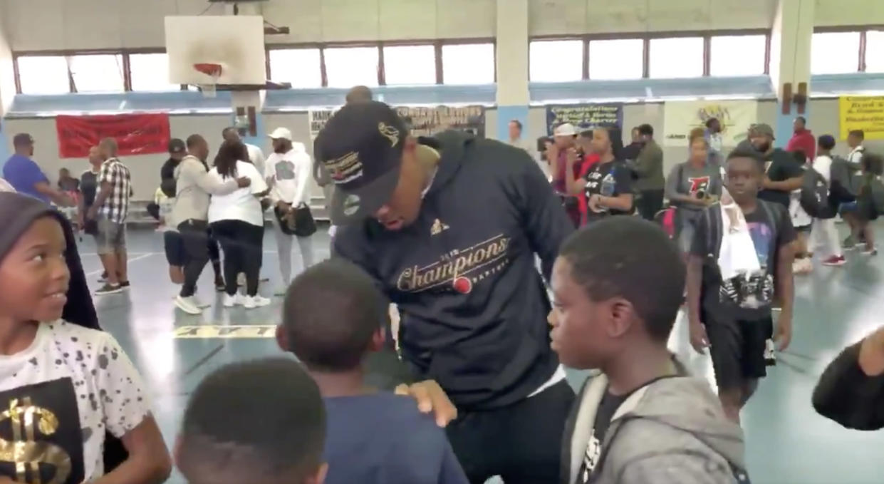 Kyle Lowry wanted to give those that showed up to see the NBA championship trophy a special experience and the tools to succeed in the classroom. (Twitter//@JeffSkversky)