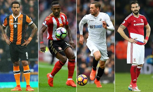 """<span class=""""element-image__caption"""">From left: the form of Hull City's Tom Huddlestone, Sunderland's Jermain Defoe, Swansea City's Gylfi Sigurdsson and Álvaro Negredo of Middlesbrough will be key to their clubs' survival chances.</span> <span class=""""element-image__credit"""">Composite: Getty Images</span>"""