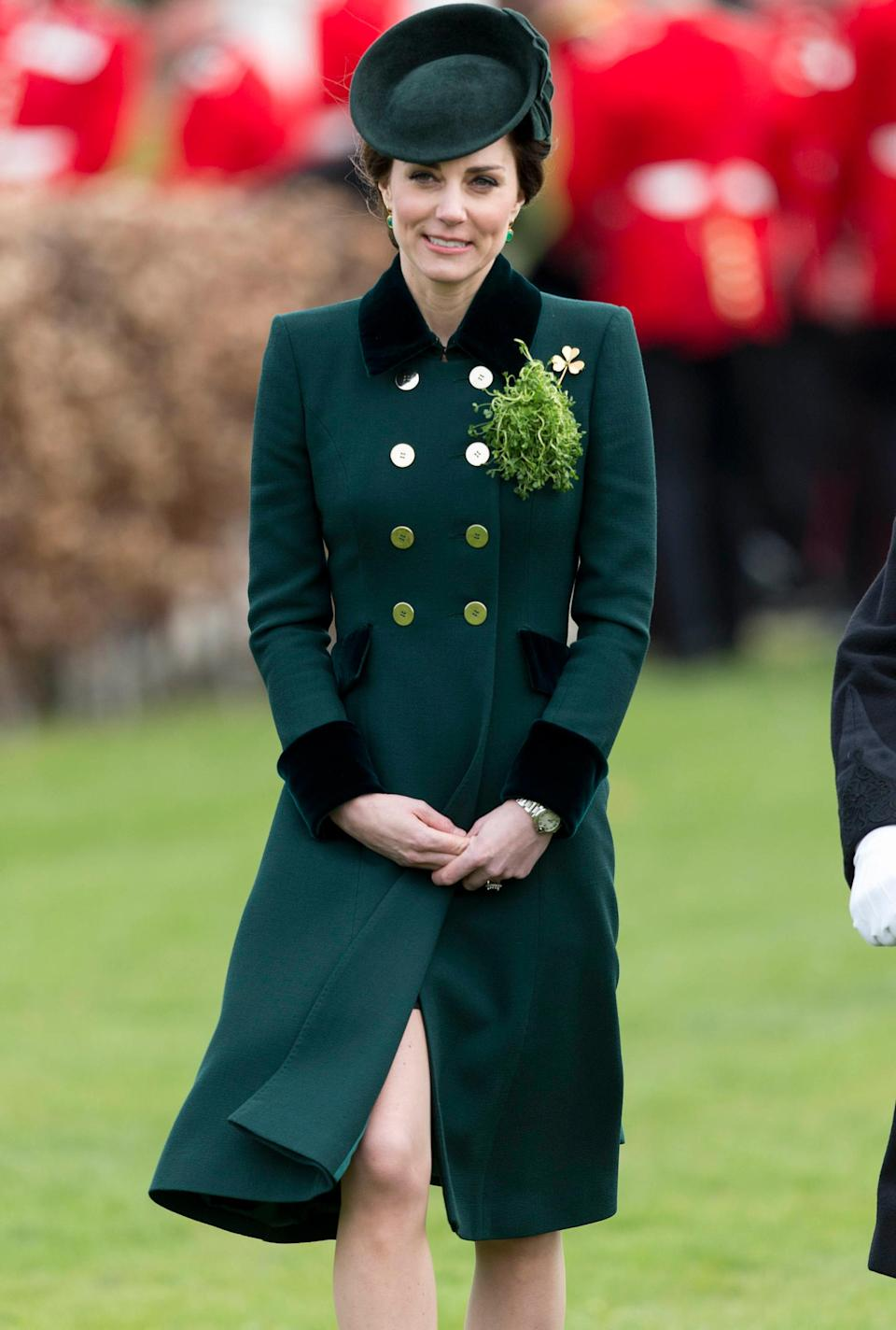 <p><strong>When:</strong> March 17, 2017 <strong>Where:</strong> A London ceremony honoring soldiers from the Irish Guards <strong>Wearing:</strong> Catherine Walker & Co bespoke coat <strong>Get the Look:</strong> Maison Jules Belted Trench Coat, $89.99; <span>macys.com</span> Burberry Sandringham long cashmere trench coat, $2,075; <span>matchesfashion.com</span> Club Monaco Ellayne Trench Coat, $298; <span>clubmonaco.com</span> </p>
