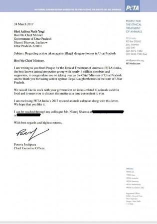 PETA's letter to UP CM on shutting down of illegal slaughter houses