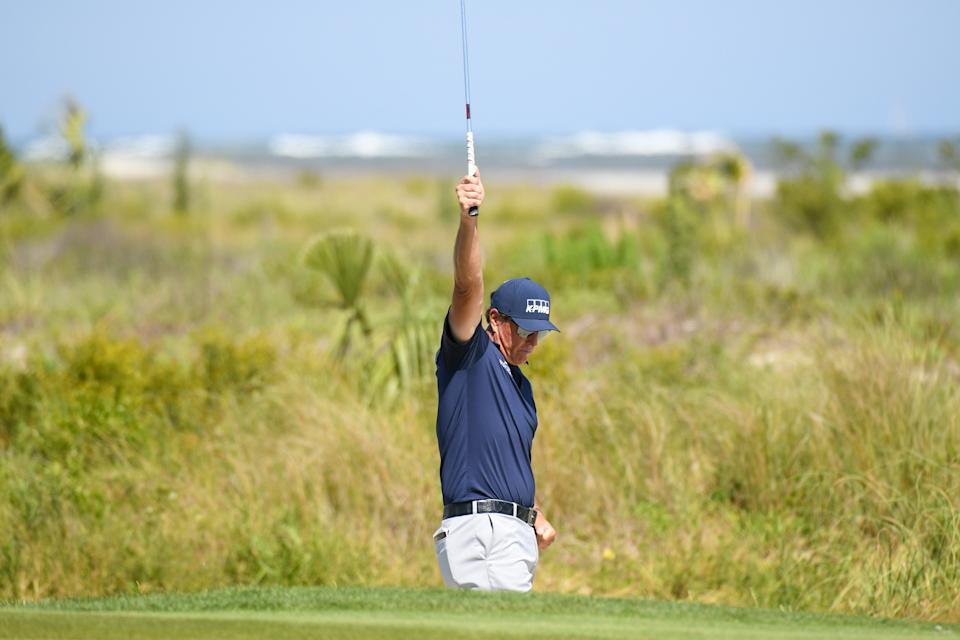 KIAWAH ISLAND, SC - MAY 23: Phil Mickelson makes his birdie putt on the fifth hole during the final round of the 2021 PGA Championship held at the Ocean Course of Kiawah Island Golf Resort on May 23, 2021 in Kiawah Island, South Carolina. (Photo by Montana Pritchard/PGA of America via Getty Images)