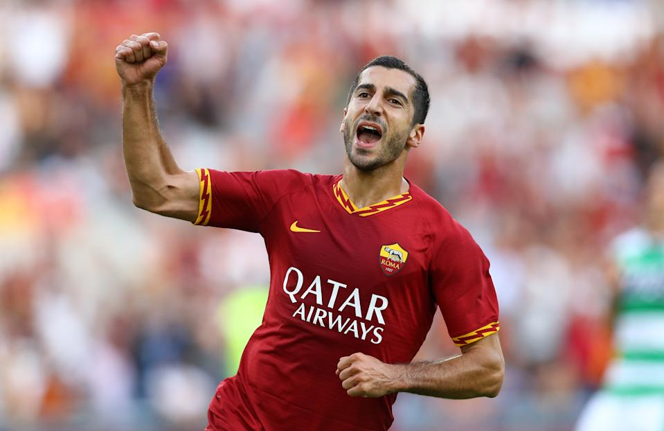 Henrikh Mkhitaryan of Roma celebrates after scoring during the Serie A match AS Roma v US Sassuolo at the Olimpico Stadium in Rome, Italy on September 15, 2019  (Photo by Matteo Ciambelli/NurPhoto via Getty Images)