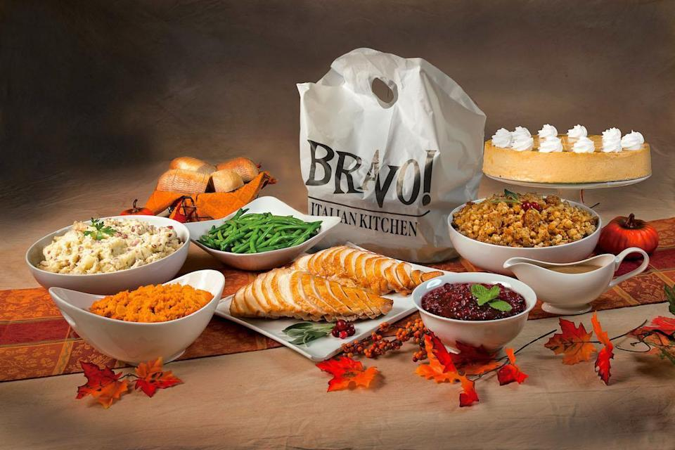 """<p>Bravo! Italian Kitchen will offer Thanksgiving dinner for takeout and dine-in featuring sliced white meat turkey, homestyle gravy, roasted <a href=""""https://www.thedailymeal.com/best-recipes/garlic-mashed-potatoes?referrer=yahoo&category=beauty_food&include_utm=1&utm_medium=referral&utm_source=yahoo&utm_campaign=feed"""" rel=""""nofollow noopener"""" target=""""_blank"""" data-ylk=""""slk:garlic mashed potatoes"""" class=""""link rapid-noclick-resp"""">garlic mashed potatoes</a>, spicy Italian sausage stuffing, green beans, cranberry sauce and an all-time <a href=""""https://www.thedailymeal.com/best-holiday-pies-recipes?referrer=yahoo&category=beauty_food&include_utm=1&utm_medium=referral&utm_source=yahoo&utm_campaign=feed"""" rel=""""nofollow noopener"""" target=""""_blank"""" data-ylk=""""slk:iconic autumnal dessert"""" class=""""link rapid-noclick-resp"""">iconic autumnal dessert</a>, pumpkin pie. A small package that feeds three costs $68.99, a large package that feeds six is $134.99, a half-pan that feeds 10 is $199.99 and a full pan that feeds 20 is $379.99.</p>"""