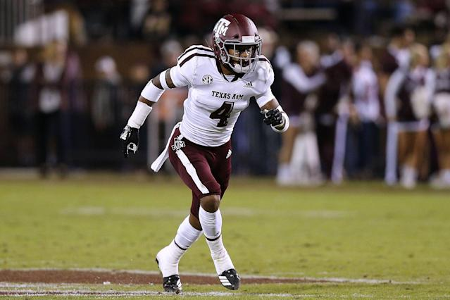 "<a class=""link rapid-noclick-resp"" href=""/ncaaf/players/280092/"" data-ylk=""slk:Derrick Tucker"">Derrick Tucker</a> is set to start at strong safety for Texas A&amp;amp;M this season. (Photo by Jonathan Bachman/Getty Images)"