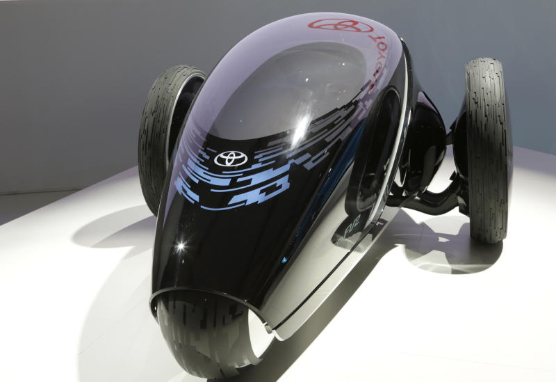 A Toyota FV2 concept car is displayed at the media preview for the Tokyo Motor Show at the Tokyo Big Sight convention hall in Tokyo, Wednesday, Nov. 20, 2013. The biannual exhibition of vehicles in Japan runs for the public from Saturday, Nov. 23 through Dec. 1. (AP Photo/Shizuo Kambayashi)