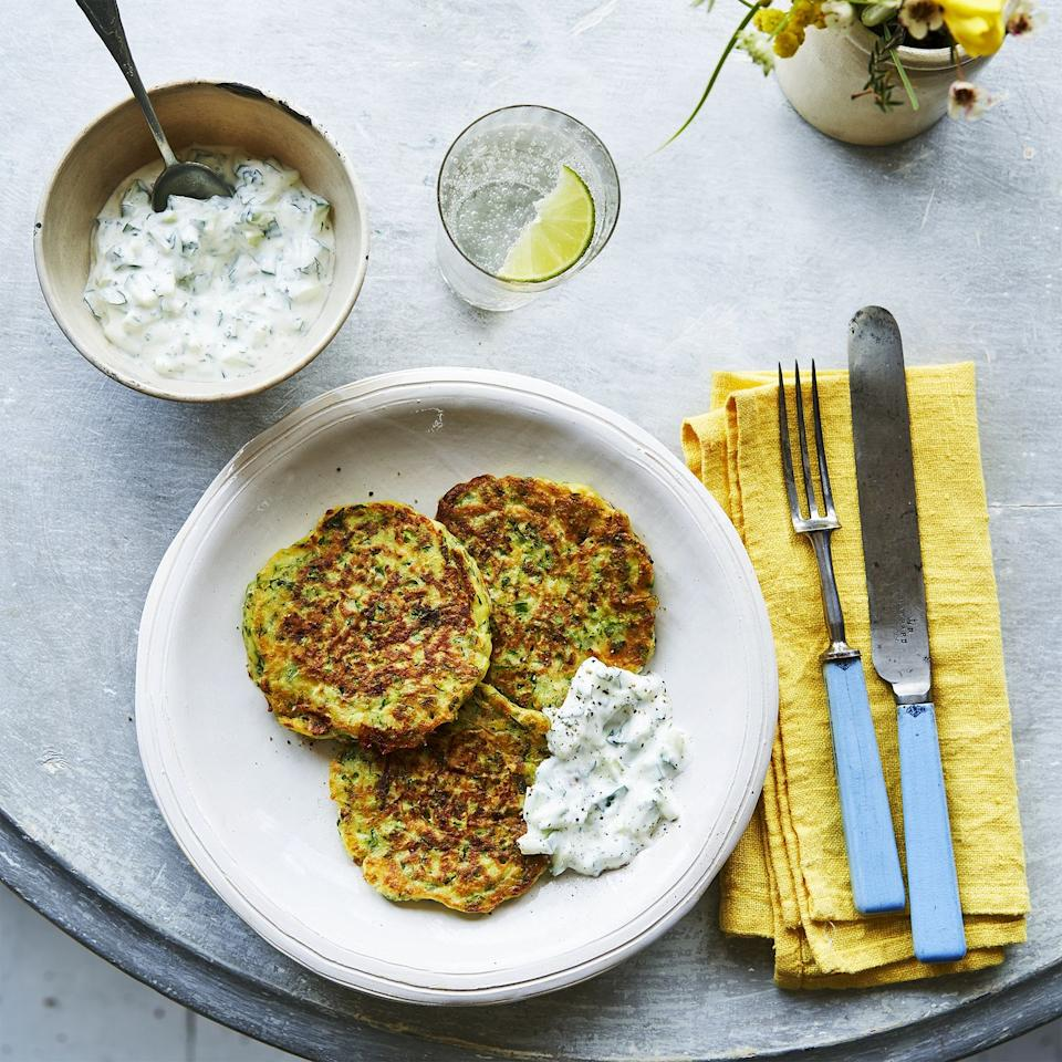 "<p>Zingy, refreshing and perfect for a late summer lunch or dinner, these courgette fritters are an indulgent combination of all of our favourite flavours — and they're pretty good for us nutritionally too. </p><p><a class=""body-btn-link"" href=""https://www.redonline.co.uk/food/recipes/a33821636/courgette-mint-goats-cheese-fritters-recipe/"" target=""_blank"">Courgette, mint and goat's cheese fritters with tzatziki recipe</a></p>"