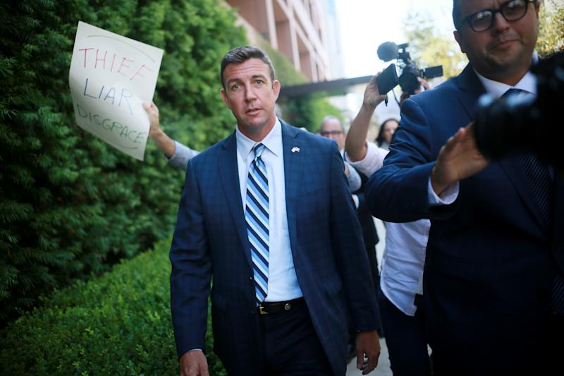 Rep. Duncan Hunter (R-Calif.) walks out of the San Diego Federal Courthouse on Aug. 23 after an arraignment hearing. (Sandy Huffaker via Getty Images)