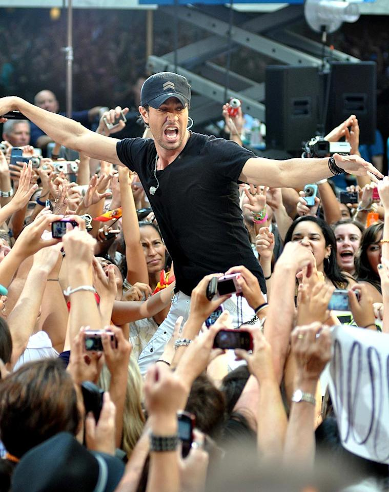 """Iglesias, who recently vowed that he was going to """"get drunk and ski naked in Miami's Biscayne Bay"""" if Spain won the World Cup,"""" told the crowd that he was ready to make good on his bet. Derek Storm/ Splash News - July 16, 2010"""