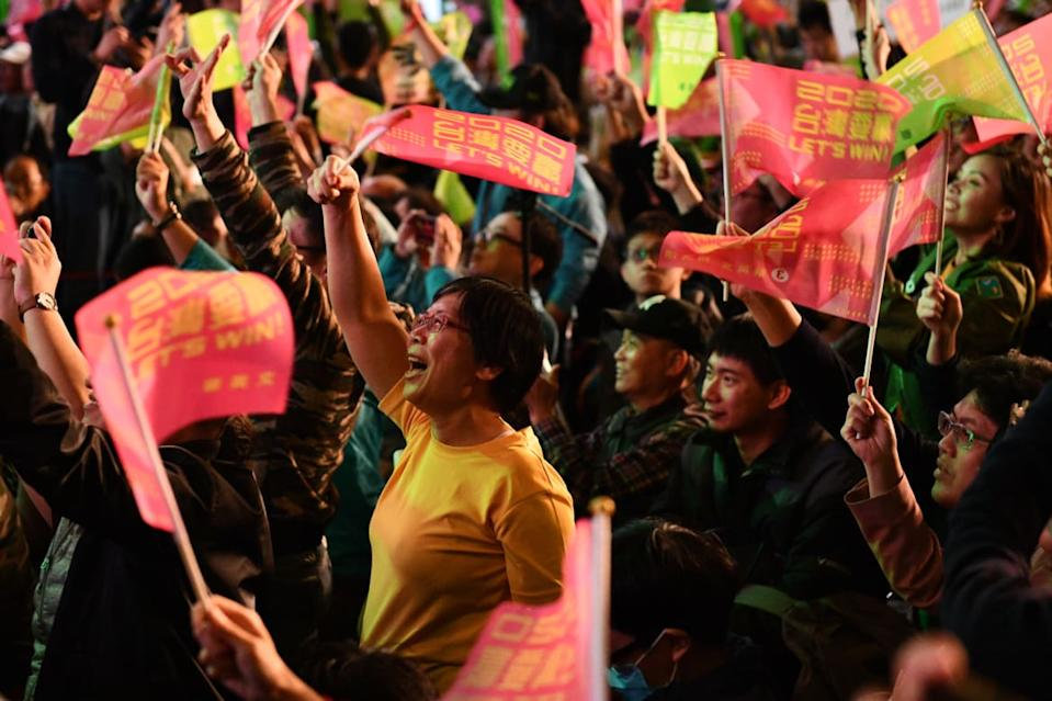 """<div class=""""inline-image__caption""""><p>Supporters react to the reelection of Tsai Ing-Wen as President of Taiwan on January 11, 2020 in Taipei, Taiwan. Voters displayed their disapproval of Beijing by opting for a leader who had campaigned on defending their country from China. </p></div> <div class=""""inline-image__credit"""">Carl Court/Getty Images</div>"""