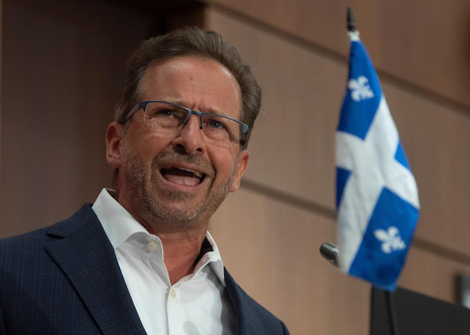Bloc Quebecois Leader Yves-Francois Blanchet delivers his opening remarks during a news conference in Ottawa on Aug. 12, 2020.  (Photo: Adrian Wyld/CP)