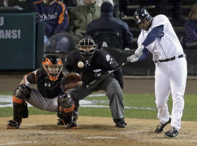 Detroit Tigers designated hitter Delmon Young hits a solo home run during the sixth inning of Game 4 of baseball's World Series against the San Francisco Giants Sunday, Oct. 28, 2012, in Detroit. (AP Photo/Charlie Riedel)