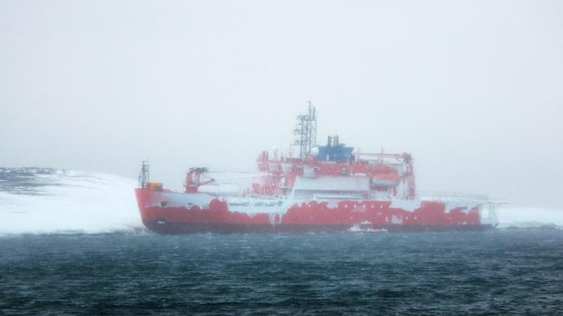 A photo taken by Chris Hill and provided by Australian Antarctic Division on February 26, 2016 shows Australia's flagship icebreaker Aurora Australis after it ran aground at Australia's Mawson research station in Antarctica (AFP Photo/Chris Hill)