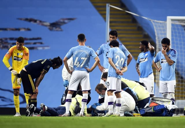 Manchester City defender Eric Garcia received lengthy treatment after colliding with goalkeeper Ederson (Peter Powell/NMC Pool/PA)