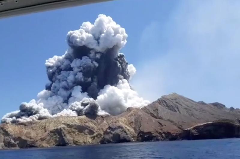 A volcanic eruption on White Island.