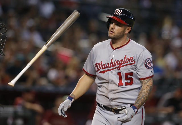 Washington Nationals' Matt Adams reacts after striking out against the Arizona Diamondbacks in the seventh inning during a baseball game, Sunday, Aug. 4, 2019, in Phoenix. (AP Photo/Rick Scuteri)