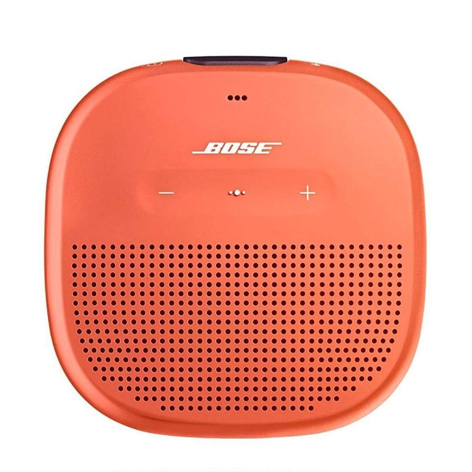 """<p><strong>Bose</strong></p><p>amazon.com</p><p><strong>$99.00</strong></p><p><a href=""""https://www.amazon.com/dp/B0748PGNBX?tag=syn-yahoo-20&ascsubtag=%5Bartid%7C2089.g.34011612%5Bsrc%7Cyahoo-us"""" rel=""""nofollow noopener"""" target=""""_blank"""" data-ylk=""""slk:Shop Now"""" class=""""link rapid-noclick-resp"""">Shop Now</a></p><p>The palm-sized Bose SoundLink Micro speaker has a durable and versatile design with IPX7 rating for water resistance. It also has a tear-resistant strap, which makes it easy to attach to a bag, a backpack, a bicycle, or a beach umbrella, among other objects. You can get the speaker in black, blue, and orange.</p><p>Equipped with a duo of custom audio units, the SoundLink Micro sounds impossibly big for a pocket-sized speaker. With a built-in microphone, the product is also great for making calls. </p><p>The SoundLink Micro can deliver up to 6 hours of wireless audio between charges. I like that it has a LED lights for keeping an eye on its battery levels.</p>"""