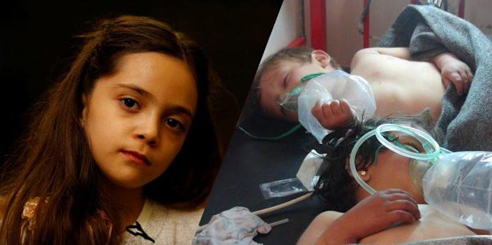 Bana Alabed, at left, and children at a hospital after the suspected gas attack in Khan Shaykhun, Syria
