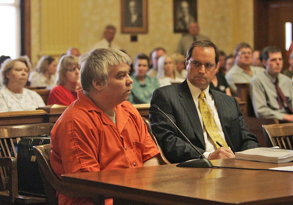 Steven Avery appears during his sentencing with his lawyer Jerome Buting listens at the Manitowoc County Courthouse in Wisconsin in 2007.