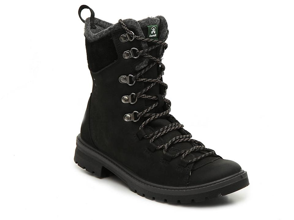 "<h2>Kamik RogueHiker Waterproof Boot</h2><br><strong>The Warmest </strong><br>Reviewers find these waterproof leather boots to be super-toasty, thanks to a wool ankle cuff, insulated lining, and sealed seams. Satisfied customers hailing from North America's coldest climes — Canada, Minnesota, Chicago, Boston — found the boots to chic enough for the office but sturdy enough for light hikes in extreme temperatures. <br><br><strong>The Hype: </strong>4.6 out of 5 stars, 47 reviews on <a href=""https://www.dsw.com/"" rel=""nofollow noopener"" target=""_blank"" data-ylk=""slk:DSW.com"" class=""link rapid-noclick-resp"">DSW.com<br></a><br><strong>What They're Saying: </strong>""I purchased these boots for a trip to Iceland to replace my current hiking shoes. I wanted something that would cover my ankles and also was waterproof. These were great shoes — comfy, stylish, and held up well for all the walking I did.""<em> — Moonlily, </em><a href=""https://www.dsw.com/"" rel=""nofollow noopener"" target=""_blank"" data-ylk=""slk:DSW.com"" class=""link rapid-noclick-resp""><em>DSW.com</em></a><em> reviewer</em><br><br><strong>Kamik</strong> RogueHiker Waterproof Hiking Boot, $, available at <a href=""https://go.skimresources.com/?id=30283X879131&url=https%3A%2F%2Fwww.dsw.com%2Fen%2Fus%2Fproduct%2Fkamik-roguehiker-waterproof-hiking-boot%2F437052"" rel=""nofollow noopener"" target=""_blank"" data-ylk=""slk:DSW"" class=""link rapid-noclick-resp"">DSW</a>"