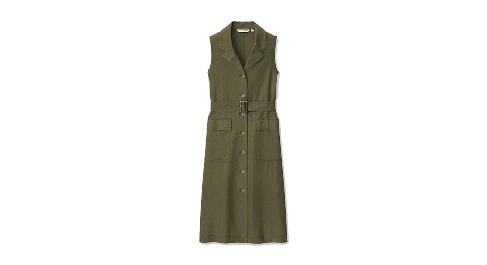 JW ANDERSON LINEN BLEND BELTED SLEEVELESS LAPEL DRESS