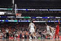 Norense Odiase #32 of the Texas Tech Red Raiders shoots against the Michigan State Spartans during the second half of the semifinal game in the NCAA Men's Final Four at U.S. Bank Stadium on April 06, 2019 in Minneapolis, Minnesota. (Photo by Jamie Schwaberow/NCAA Photos via Getty Images)