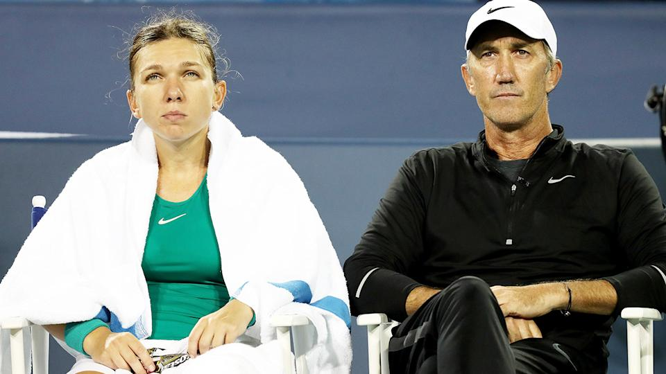 Simona Halep and Darren Cahill, pictured here at the Western & Southern Open in 2018.