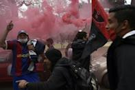Newell's Old Boys supporters gather outside Marcelo Bielsa stadium before their vehicle parade to appeal to Argentine footballer Lionel Messi to come play for his boyhood team