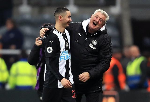 Newcastle manager Steve Bruce, right, shares a joke with Miguel Almiron after the player ended his Premier League drought against Crystal Palace in December. Paraguay international Almiron, a £21million signing from MLS club Atlanta United, had gone 26 top-flight games without a goal before sparking wild celebrations at St James' Park by earning a 1-0 win over the Eagles
