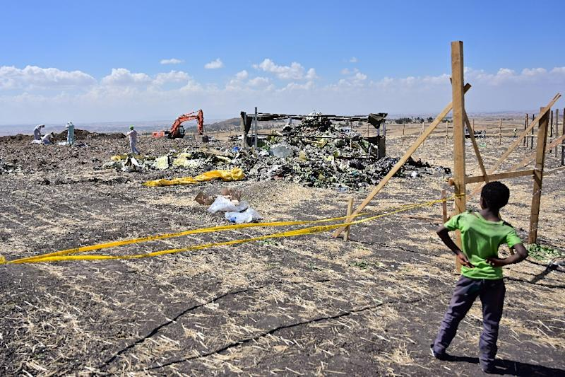 The two planes' flight recorders provided the strongest indication yet that an anti-stall system malfunctioned in both the Ethiopian Airlines crash of March 10, 2019 -- the aftermath of which is seen here -- and Lion Air's 2018 crash in Indonesia