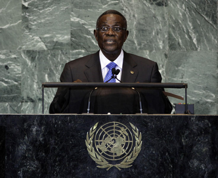 File - In this file photo taken on Friday, Sept. 23, 2011, President of Ghana, John Evans Atta Mills, waits to address the 66th session of the United Nations General Assembly. State-run television in Ghana is announcing on Tuesday, July 24, 2012, that President John Atta Mills has died at age 68. (AP Photo/Richard Drew, file)