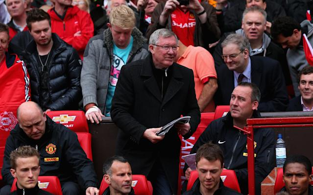 MANCHESTER, ENGLAND - MAY 12: Manchester United Manager Sir Alex Ferguson takes his seat in the dugout for the last time prior to the Barclays Premier League match between Manchester United and Swansea City at Old Trafford on May 12, 2013 in Manchester, England. (Photo by Alex Livesey/Getty Images)