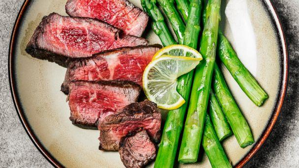 PHOTO: Sliced steak with asparagus is pictured in this undated stock photo. (STOCK PHOTO/Getty Images)