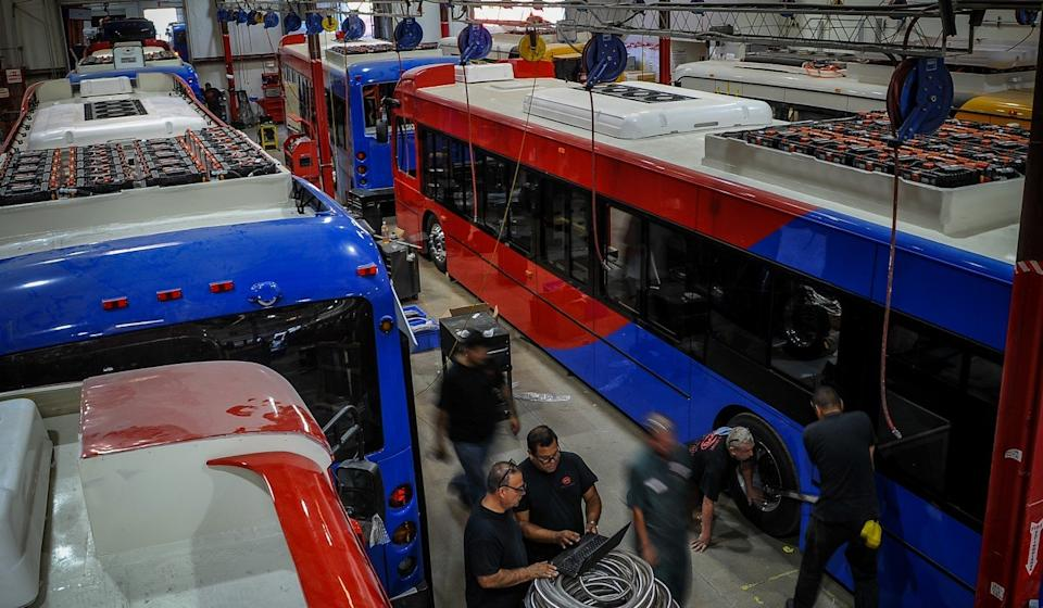 BYD's plant in Lancaster, California, has created 800 unionised manufacturing jobs and sources 70 per cent of its components from US companies. But its future hangs in the balance over one word in legislation now being hammered out in Washington. Photo: Xinhua