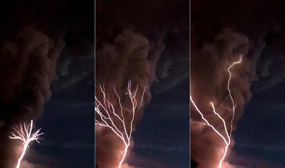 The Taal volcano in the Philippines caused lightning to flash across the sky as it spewed ash (Pictures: SWNS)