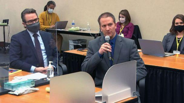 PHOTO: Former Minneapolis police officer Derek Chauvin speaks into a microphone during his trial in the death of George Floyd in Minneapolis, April 15, 2021. Defense attorney Eric Nelson is at left. (Court TV via ABC News)
