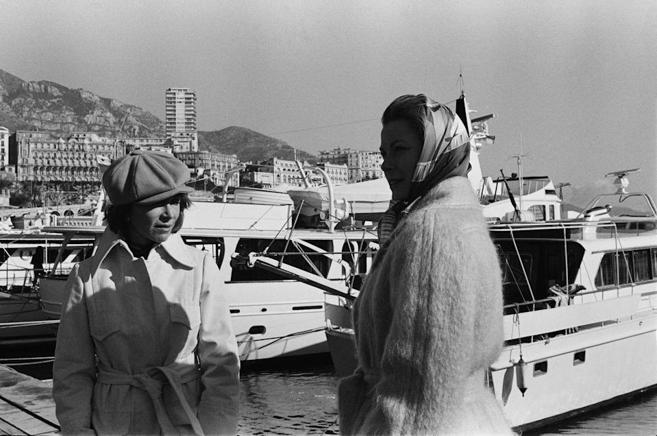 <p>Princess Grace at the port in Monaco, as she films a television documentary for NBC in 1977. </p>