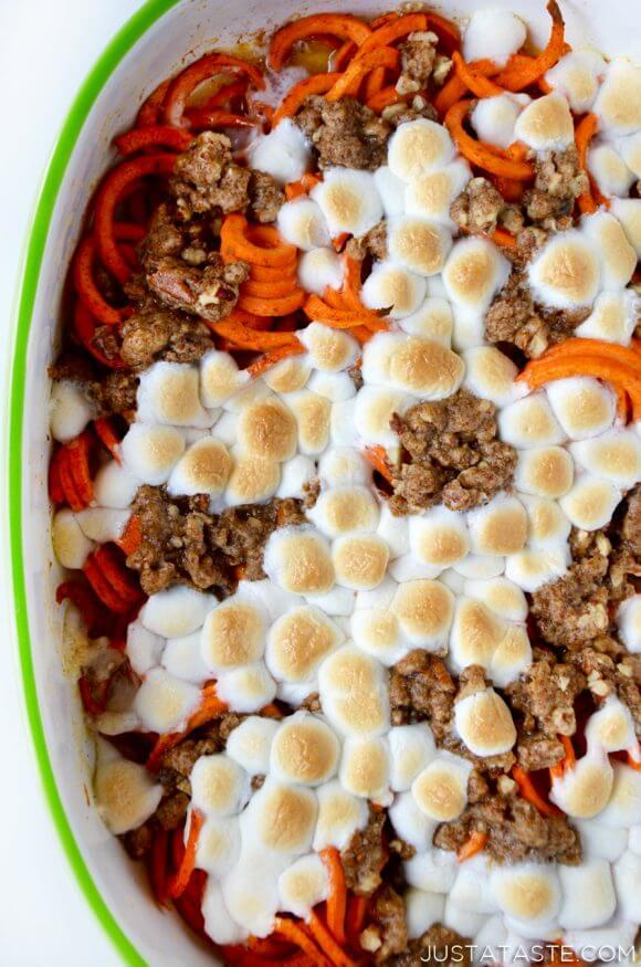 "<p>For a slight twist on the classic sweet potato casserole staple, Kelly Senyei at Just a Taste simply slightly twists the vegetable itself. The taste remains the same as a classic sweet Thanksgiving casserole, but your eyes get something new to look at by just spiral-cutting your sweet potatoes. It's a surprise for the table, but familiar to the tummy. <br /><br /><a rel=""nofollow"" href="" http://www.justataste.com/spiralized-sweet-potato-noodle-casserole-recipe/"">Get the recipe</a> </p>"