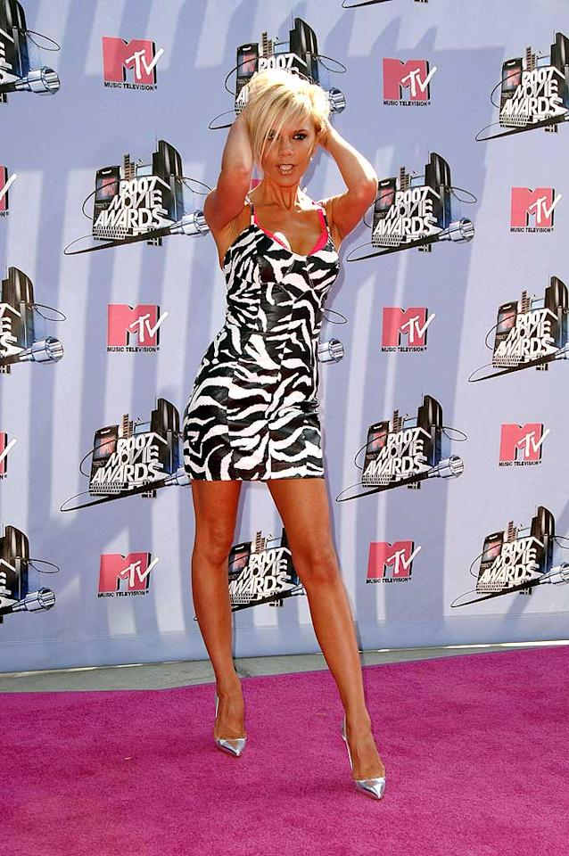 "Victoria Beckham practices for her photoshoot at the MTV Movie Awards. Steve Granitz/<a href=""http://www.wireimage.com"" target=""new"">WireImage.com</a> - June 3, 2007"