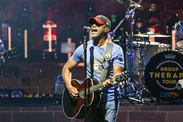 FILE - In this July 20, 2019, file photo, Darius Rucker performs during the Group Therapy Tour at Riverbend Music Center in Cincinnati, Ohio. Rucker will perform a pre-race concert before the Daytona 500 in February. It will be Ruckers fourth appearance at Daytona International Speedway and first at the Great American Race, which will again serve as NASCARs Cup Series season opener. (Photo by Amy Harris/Invision/AP, File)